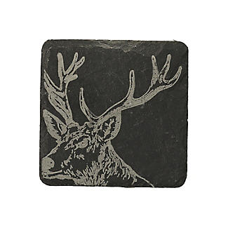 Just Slate Etched Slate Stag's Head Coasters Set of 4