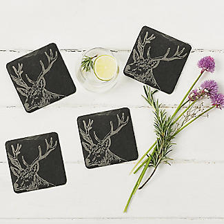 Just Slate Etched Slate Stag's Head Coasters Set of 4 alt image 2