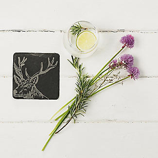 Just Slate Etched Slate Stag's Head Coasters Set of 4 alt image 3