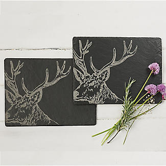 Just Slate Etched Slate Stag's Head Place Mats Set of 2 alt image 2