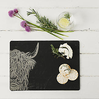 Just Slate Etched Slate Highland Cow Cheese Board alt image 2