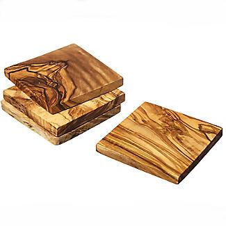 Naturally Med Square Olive Wood Coasters Set of 4 alt image 3