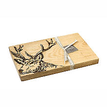 Just Slate Scottish Oak Etched Stag's Head Serving Board