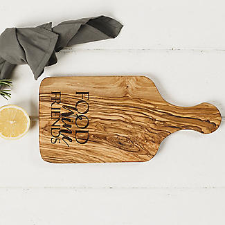 Naturally Med Etched Food Wine Friends Olive Wood Handled Cheese Board alt image 2