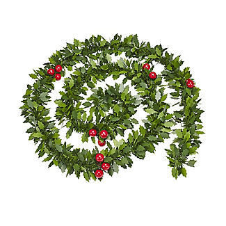 Decorative Holly Christmas Garland 2m