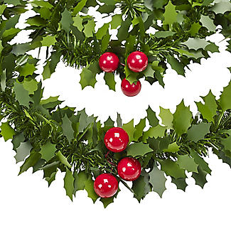 Decorative Holly Christmas Garland 2m alt image 2