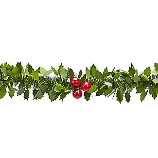 Decorative Holly Christmas Garland 2m alt image 3