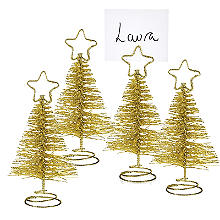 Gold Glitter Christmas Tree Place Card Holders - Set of 4