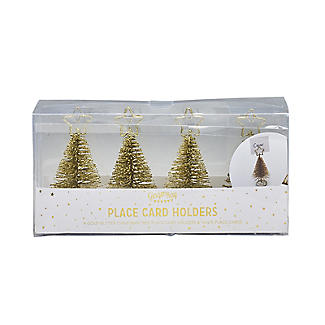 Gold Glitter Christmas Tree Place Card Holders - Set of 4 alt image 2