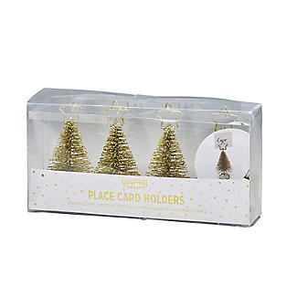 Gold Glitter Christmas Tree Place Card Holders - Set of 4 alt image 3