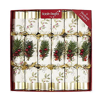 Luxury Holly Christmas Crackers - Pack of 6
