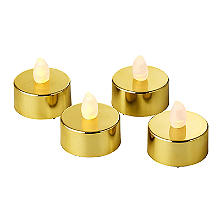 Gold Flickering LED Tealights - Pack of 4