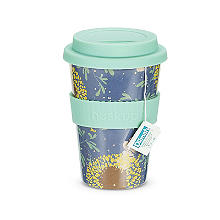 Huskup Reusable Eco Cup – Teal Sunflower 400ml