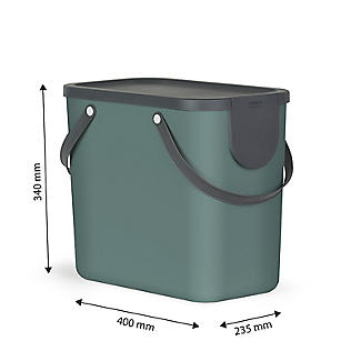 Rotho Albula Recycling Waste Bin Fern Green Colour 25L alt image 4