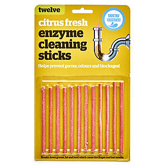 12 Drain Maintain Fragranced Enzyme Cleaning Plughole Sticks Citrus Fresh