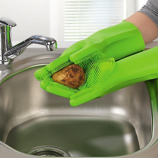 Silicone Scrubby Cleaning Gloves – 1 Pair alt image 4
