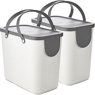 Rotho Albula 2 x 25L Recycling Bin Set - Putty White