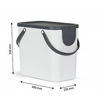 Rotho Albula 2 x 25L Recycling Bin Set - Putty White alt image 9
