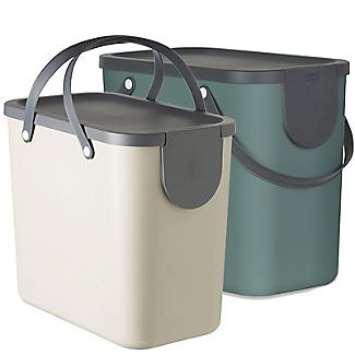 Rotho Albula 2 x 25L Recycling Bin Set -  Fern Green & Latte