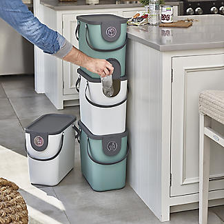 Rotho Albula 2 x 25L Recycling Bin Set -  Fern Green & Latte alt image 2