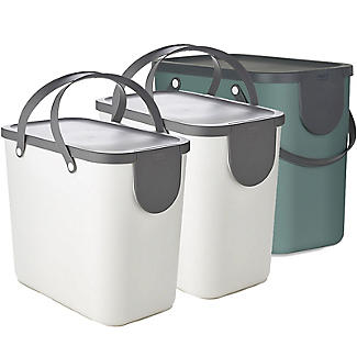 Rotho Albula 3 x 25L Recycling Bin Set -  Fern Green & Putty White