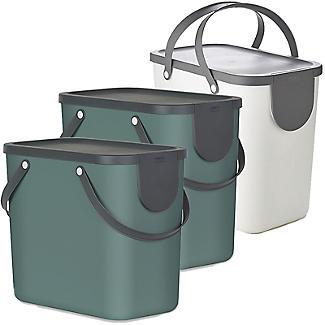 Rotho Albula 3 x 25L Recycling Bin Set - Green & Putty White
