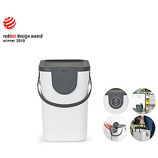 Rotho Albula 3 x 25L Recycling Bin Set - Green & Putty White alt image 8