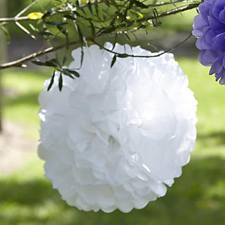 3 Paper Party Hanging Garden Pompoms - Ivory