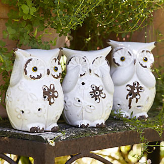 Three Garden Owls