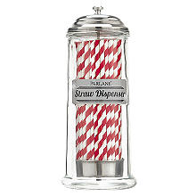 Parlane Glass Straw Dispenser with 50 Paper Straws