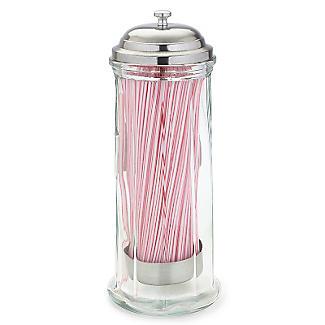 Parlane Glass Straw Dispenser with 50 Paper Straws alt image 2
