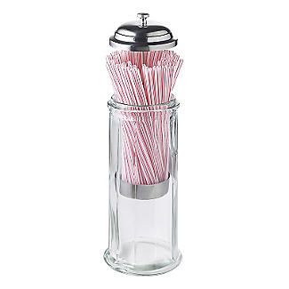 Parlane Glass Straw Dispenser with 50 Paper Straws alt image 3