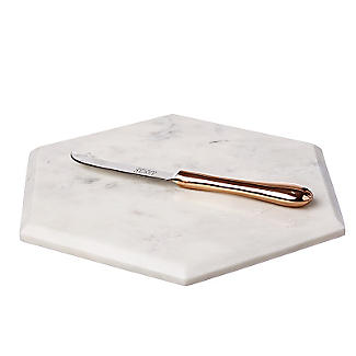 Just Slate Hexagonal Marble Board With Copper Knife