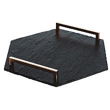 Just Slate Hexagonal Slate Serving Tray with Coppered Handles