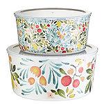 Lemon Grove Lidded Melamine Serve and Store Bowl Duo