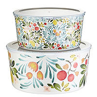 Lemon Grove Lidded Melamine Serve and Store Bowl Duo
