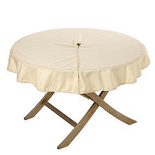 Round Weatherproof Outdoor Tablecloth Almond