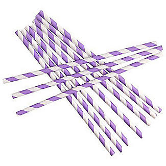 Neviti Purple and White Candy Stripe Paper Straws - Pack of 25 alt image 1