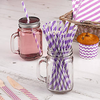 Neviti Purple and White Candy Stripe Paper Straws - Pack of 25 alt image 2