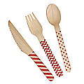 Neviti Carnival Red Disposable Wooden 24-Piece Picnic Cutlery Set