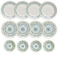 Moroccan Bloom Melamine 12 Piece Dinner Set