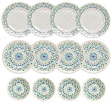 Moroccan Bloom Melamine 12 Piece Dinner Set
