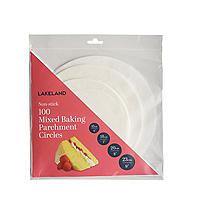 100 Baking Parchment Liner Paper Circles - Mixed Sizes