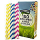 Caterpack Candy Striped Paper Straws Pink, Blue And Yellow Pack Of 150