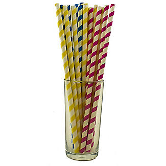 Caterpack Candy Striped Paper Straws Pink, Blue And Yellow Pack Of 150 alt image 2