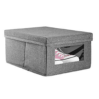 Foldable Grey Shoe Storage Box with Viewing Window