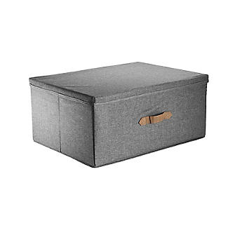 Foldable Grey Storage Box with Lid – Large