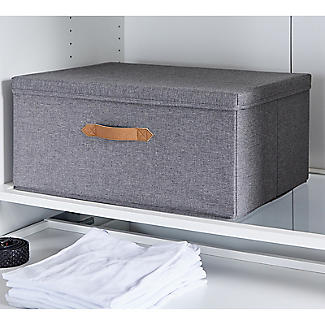 Foldable Grey Storage Box with Lid – Large alt image 2
