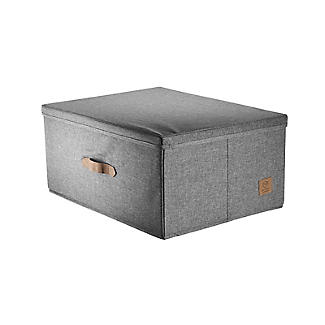 Foldable Grey Storage Box with Lid – Large alt image 4