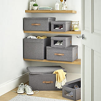 Foldable Grey Storage Box with Lid – Large alt image 8